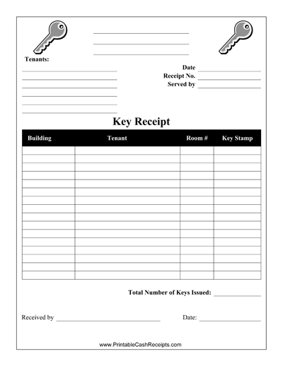 landlords can use this printable key receipt to record