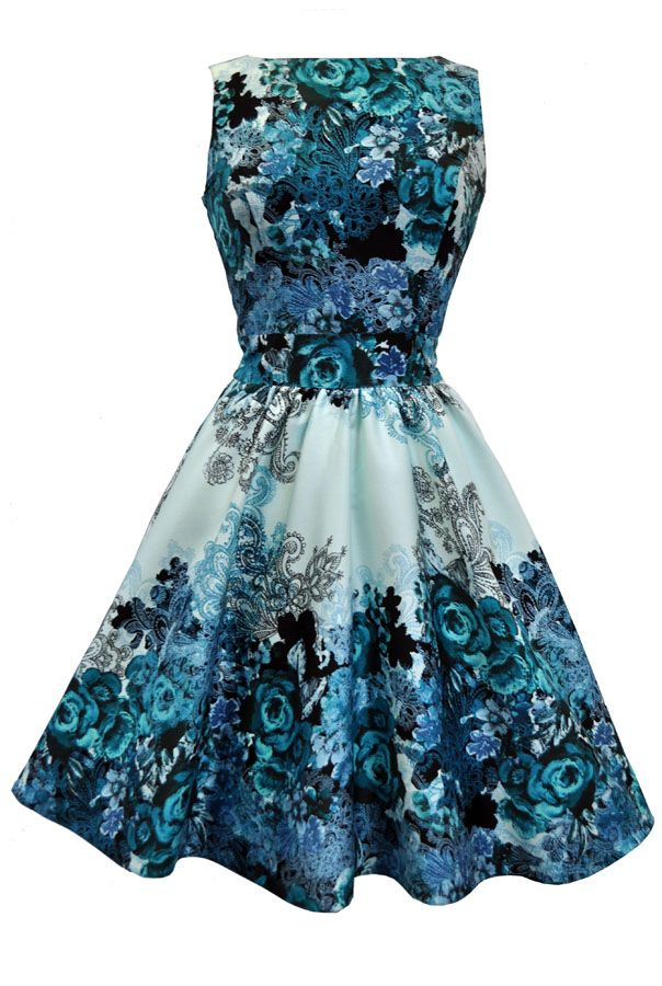 Print Vintage Tea Length Dresses