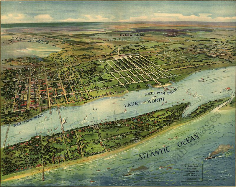 West Palm Beach Florida Map.Panoramic View Of West Palm Beach Fl C1915 Repro 30x24 National
