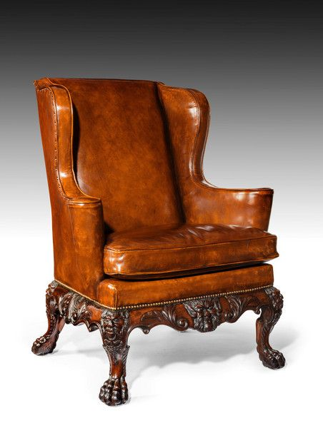 A Handsome Late Victorian Leather Carved Wing Chair C 1890 England Onlinegalleries
