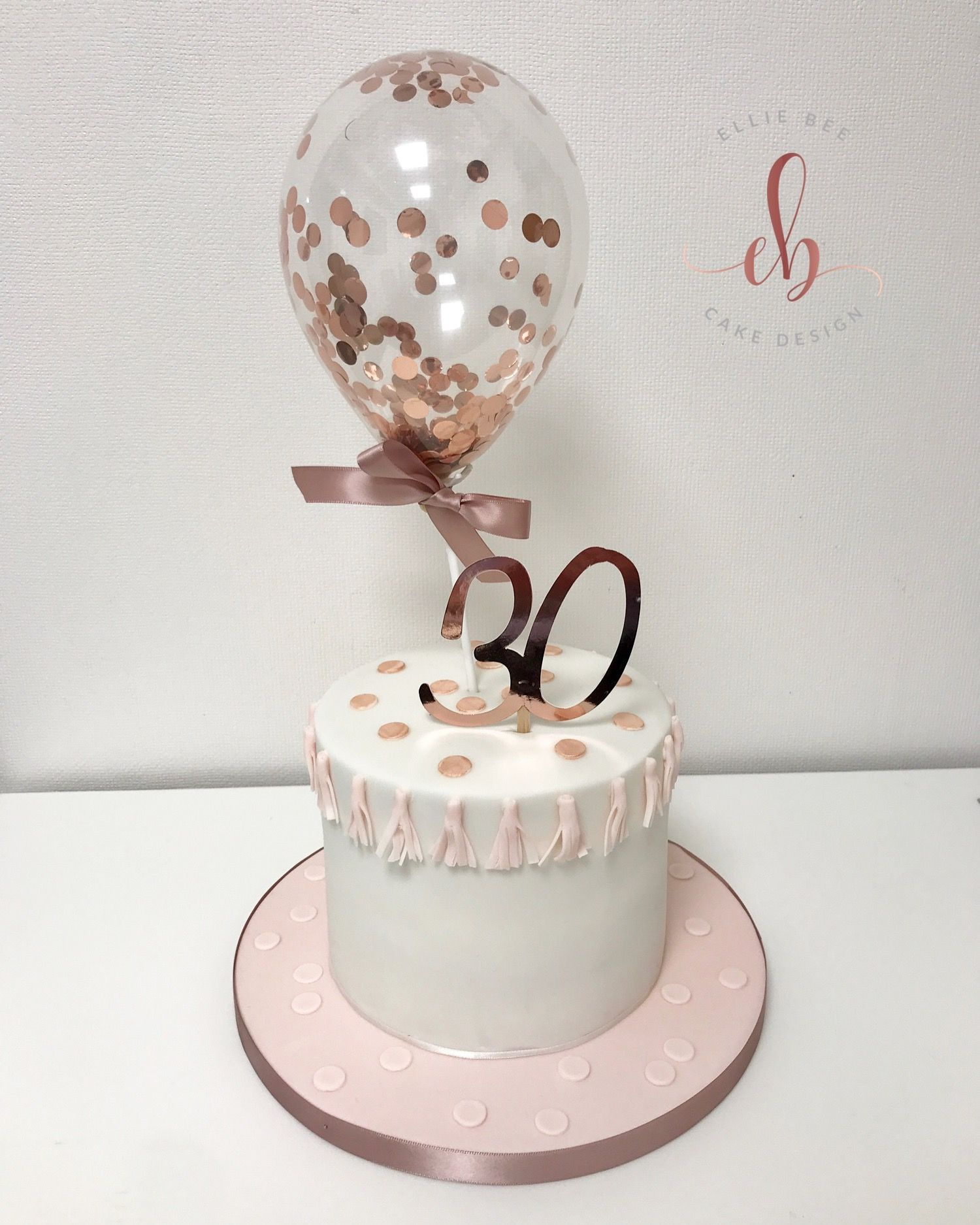 Astonishing Confetti Balloon Cake With Tassels Rose Gold And Pink Funny Birthday Cards Online Elaedamsfinfo