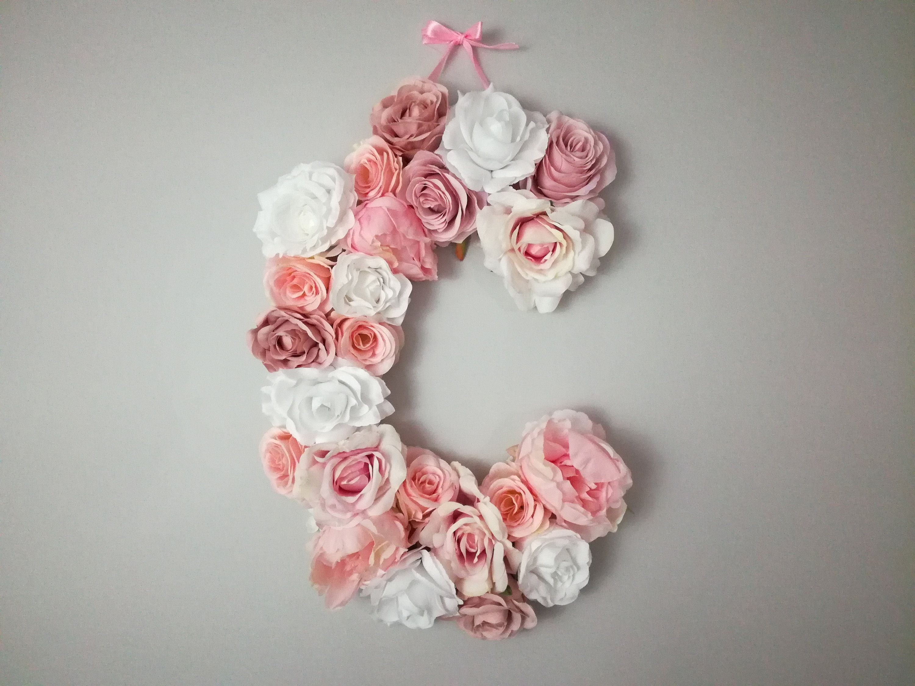 Letter Flower C Fl Large Letters For Nursery Hanging Wall Dorm Decor Wooden Pink By Gingerfeast On