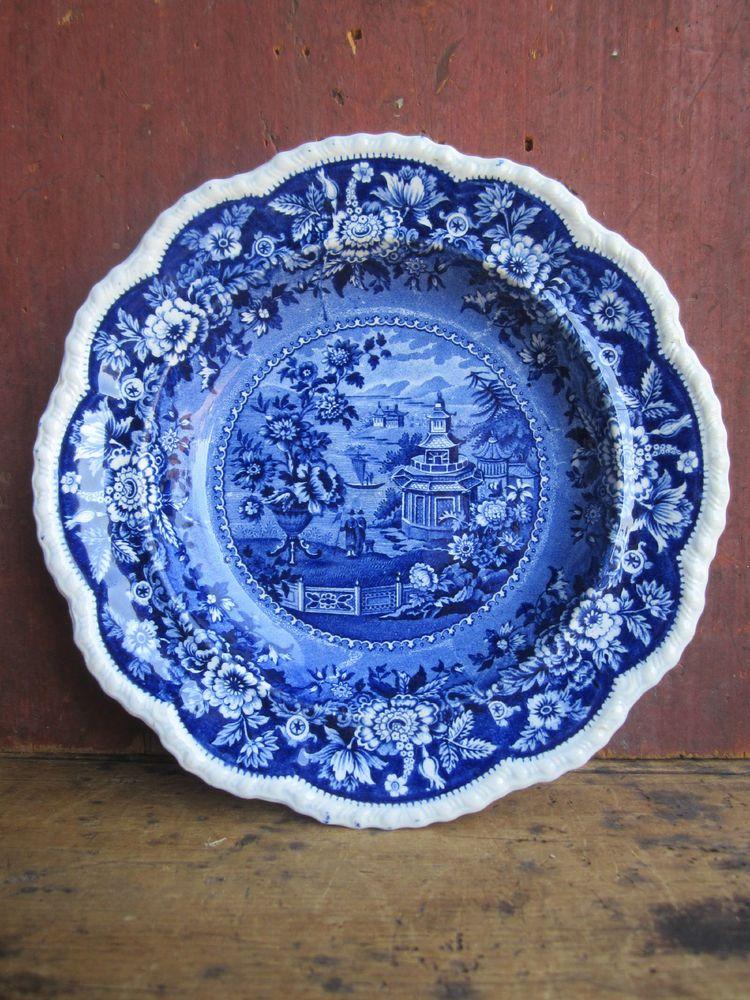 No Bottom Mark Just Design Name Pre 1824 Antique Dark Blue English Staffordshire Transferware Soup Ridgeway Asiatic Palac