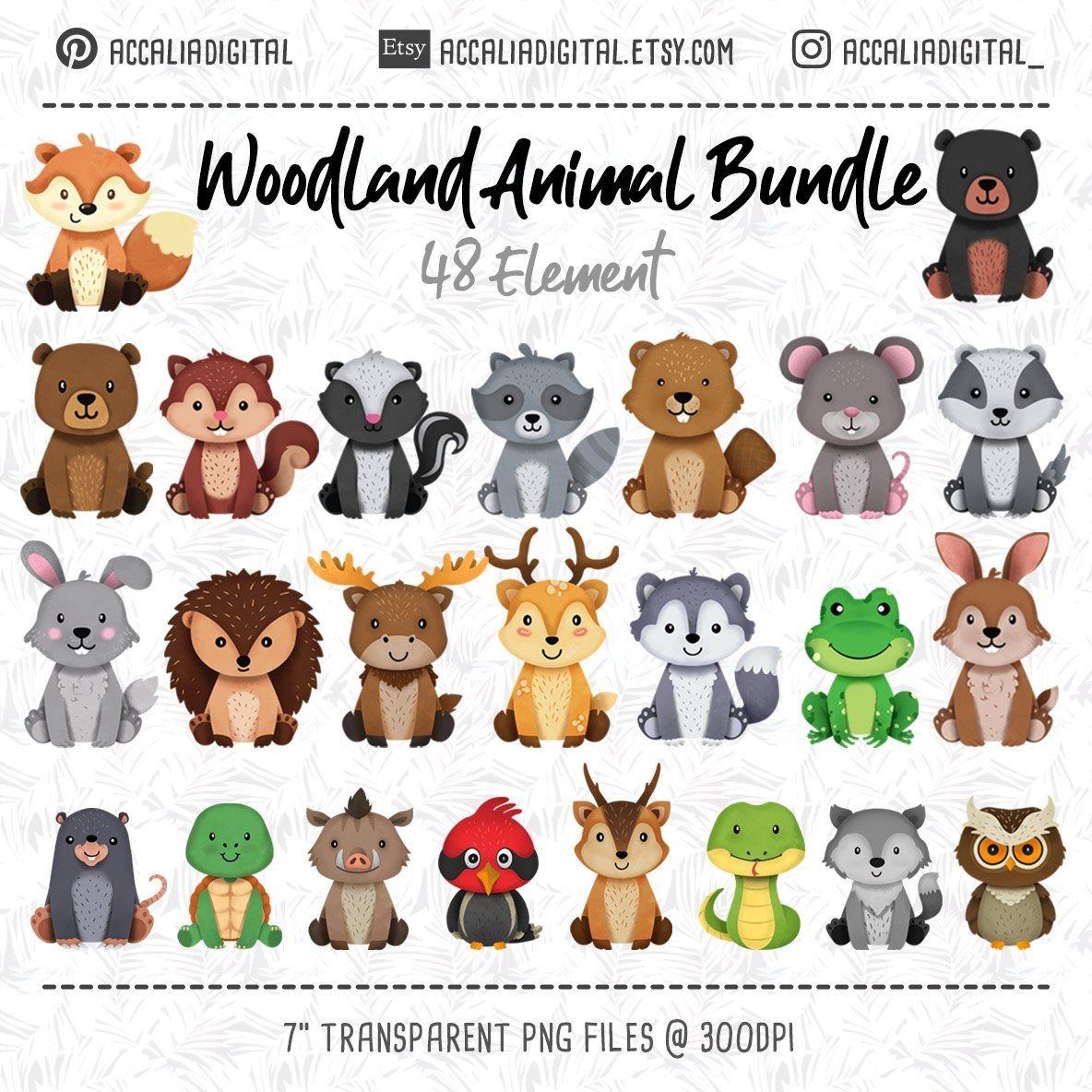 Realistic Woodland Animals Clipart (With images