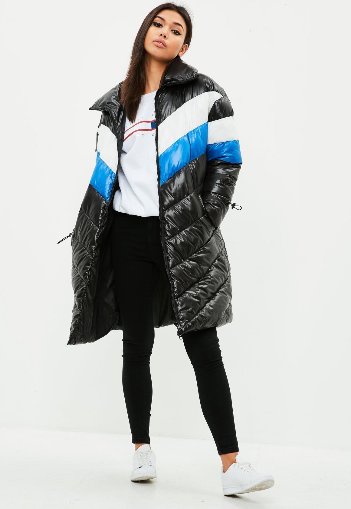 c46770724 Missguided - Black Longline Colour Block Puffer Jacket
