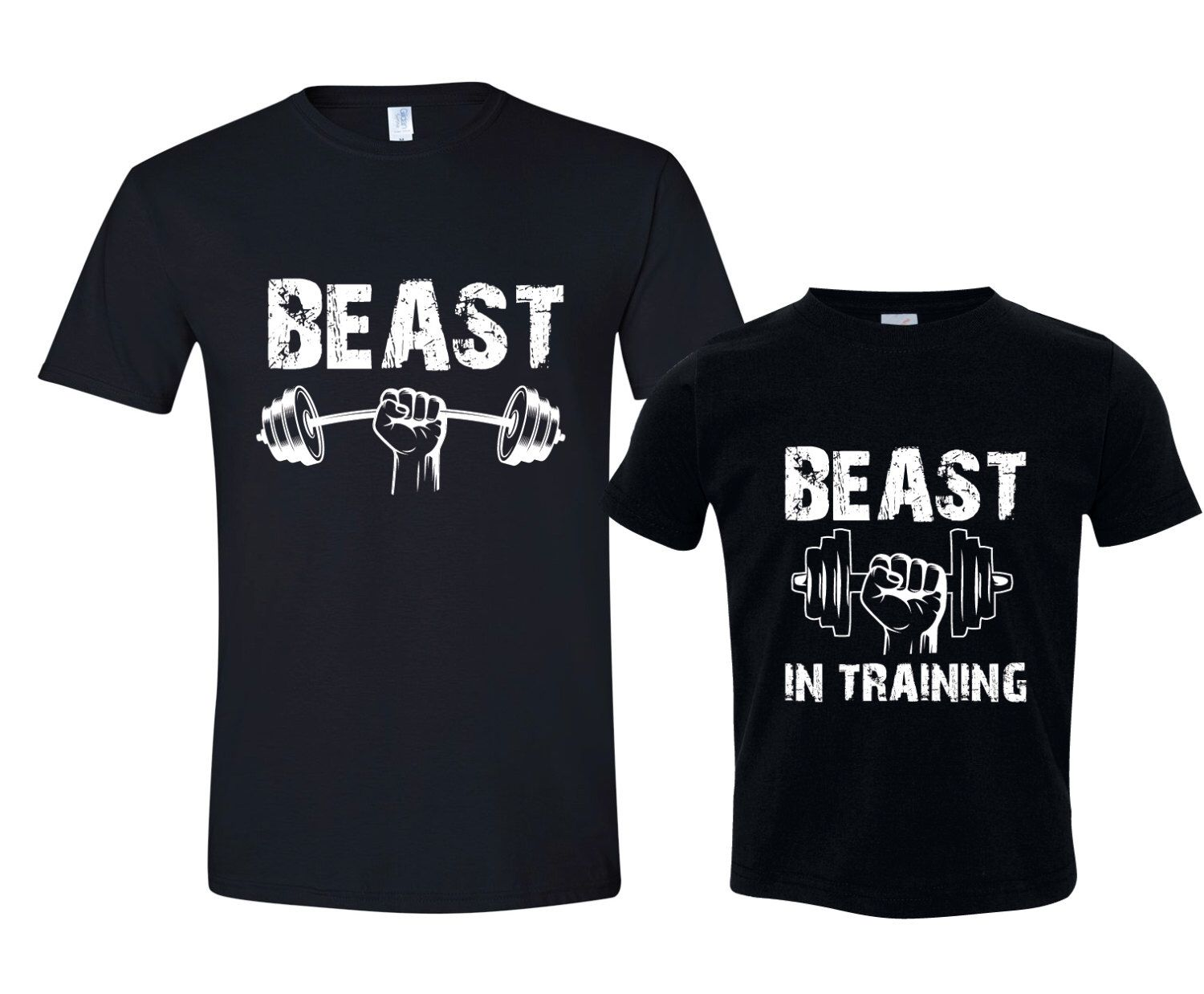 beastbeast in training  funny father son matching shirt
