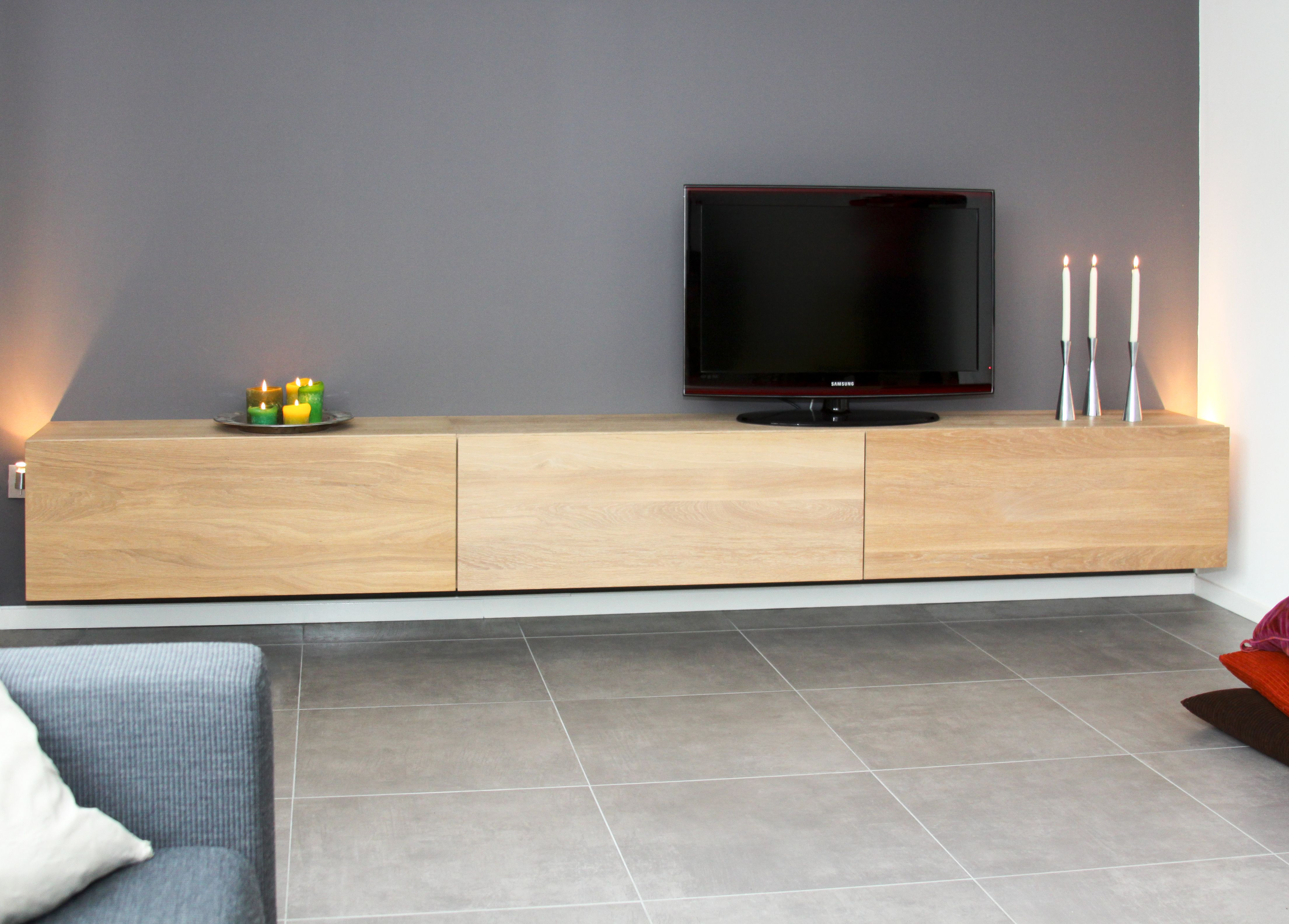 Tv Kast Kleppen.Medium Box Low Tv Meubel Met Romp Klep En Lades In Massief Eiken