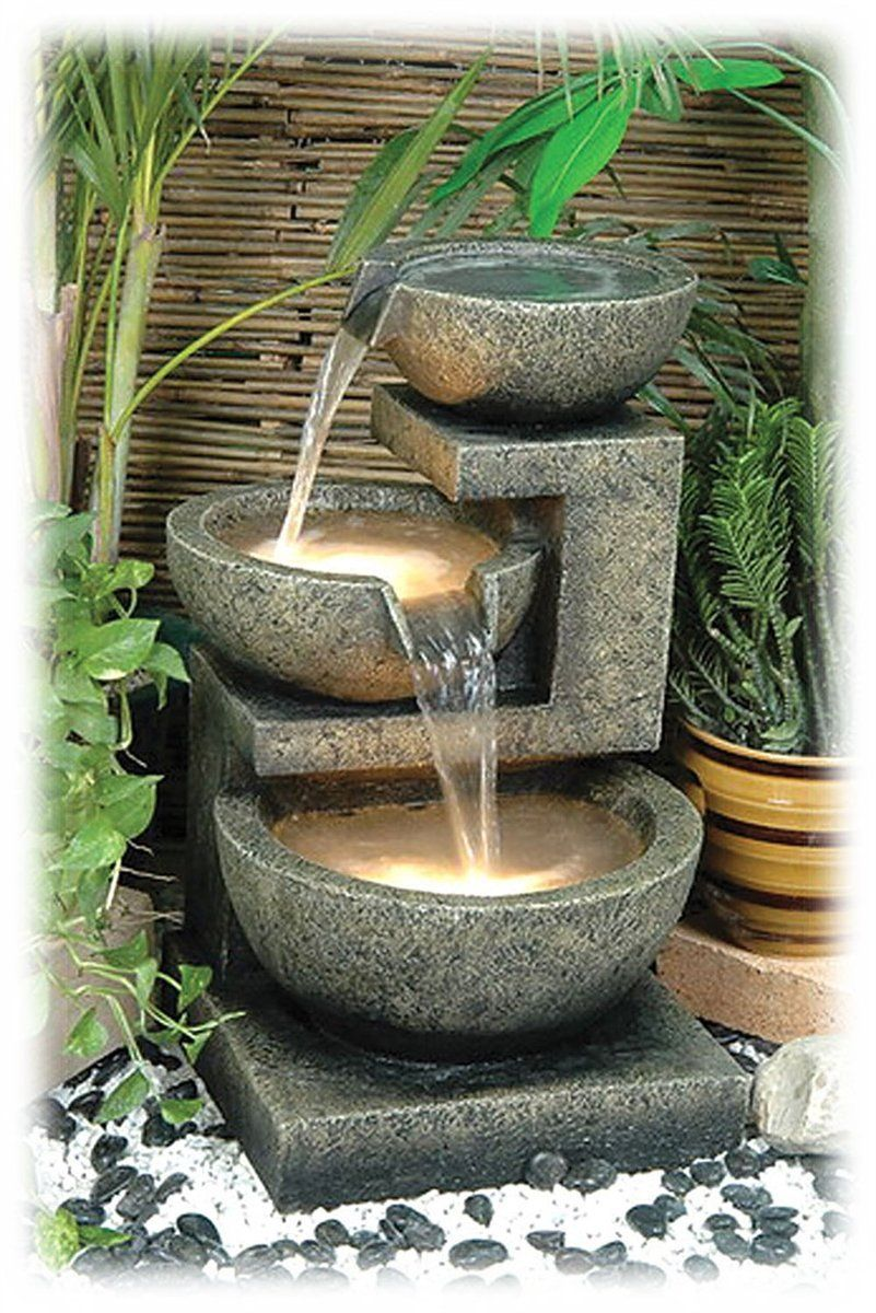 Garden water features  Multi Tier Faux Antique Stone Lighted Bowls Outdoor Water Fountain