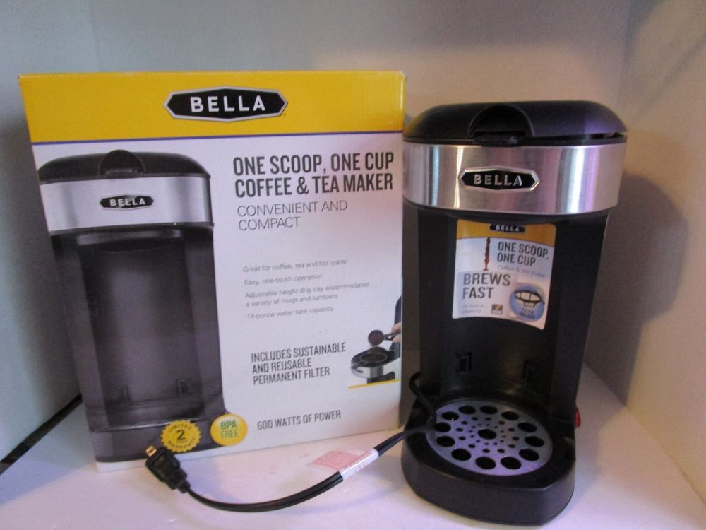 Bella one scoop one cup coffee tea maker stainless