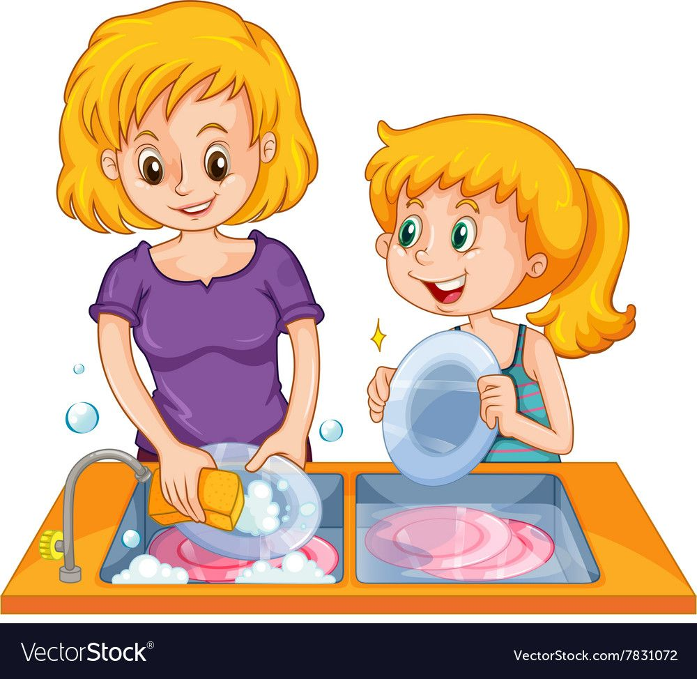 Girl helping mom doing the dishes. Download a Free Preview ... (1000 x 974 Pixel)