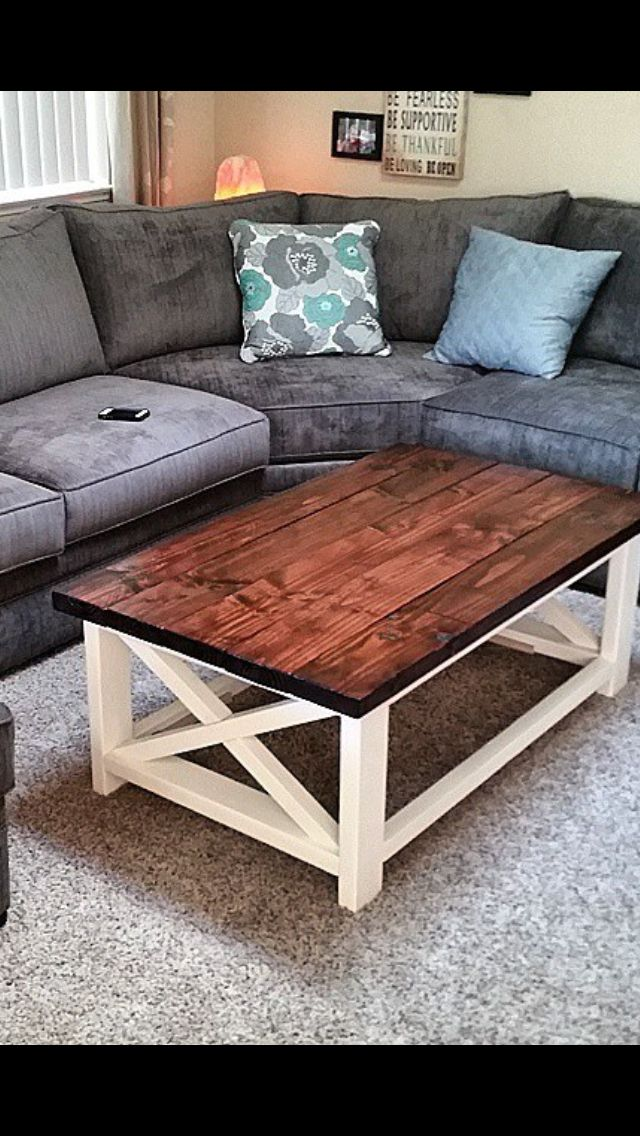 Homemade coffee table. Grey couch. Diy