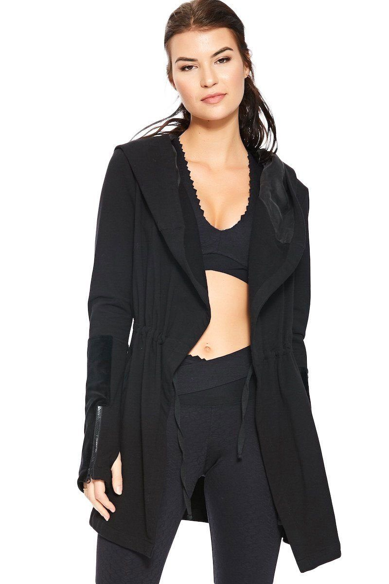 bf24c3fe2 Go anywhere in this elongated jacket elevated with velvet sleeve ...