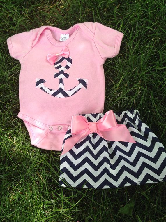 299325545d6a5 Anchor pink and navy chevron skirt and shirt by BabyEmbellishments ...