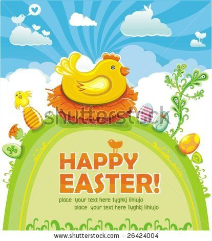 Easter Card With Chickens Stock Vector Illustratie: 73587454 : Shutterstock