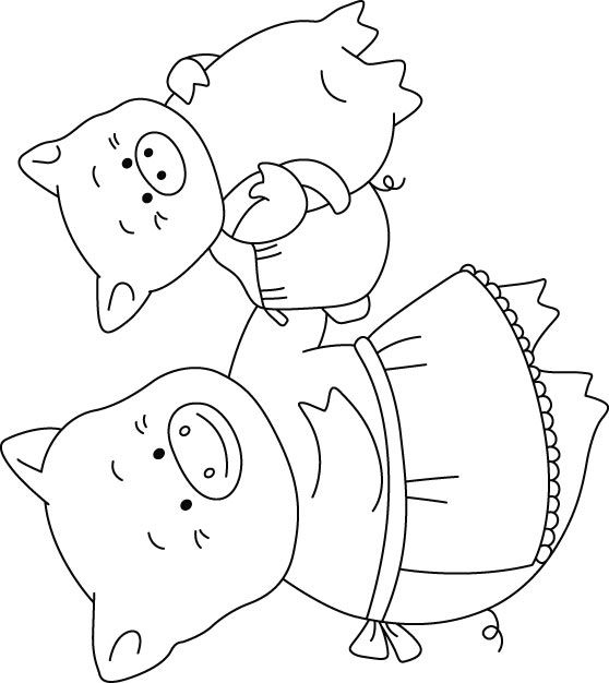 Free Printable Baby Pig and mother pig ride high coloring pages