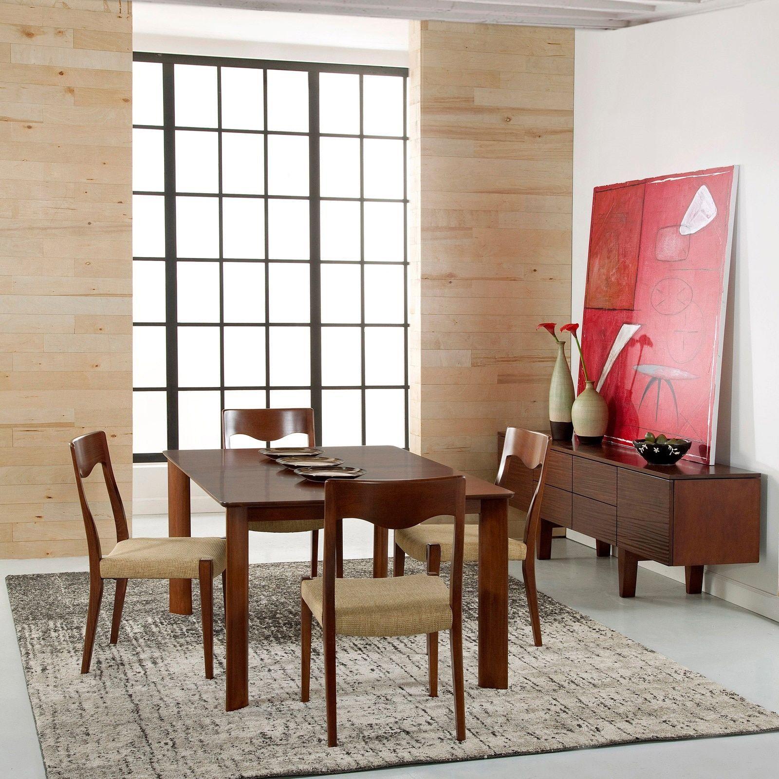Saloom ari 36 x 72 rectangular maple smooth top dining table in walnut brown finish walnut