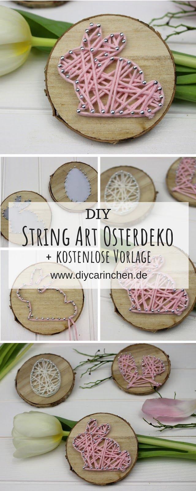 DIY Osterhase in String Art auf einer Astscheibe einfach selbermachen