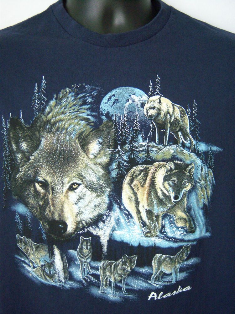 Howling Wolf Pack Women/'s Long Sleeve Tee Wild Wilderness Animals Nature Moon