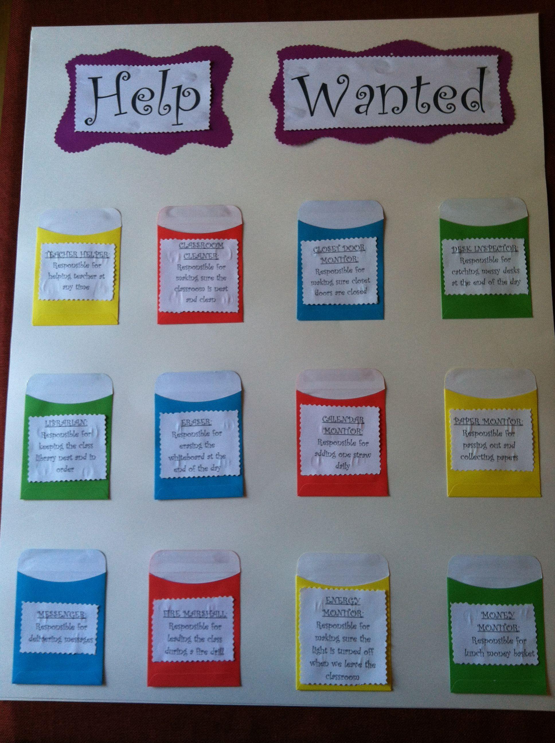 Classroom Ideas For Nqt ~ Class job chart teaching ideas pinterest jobs