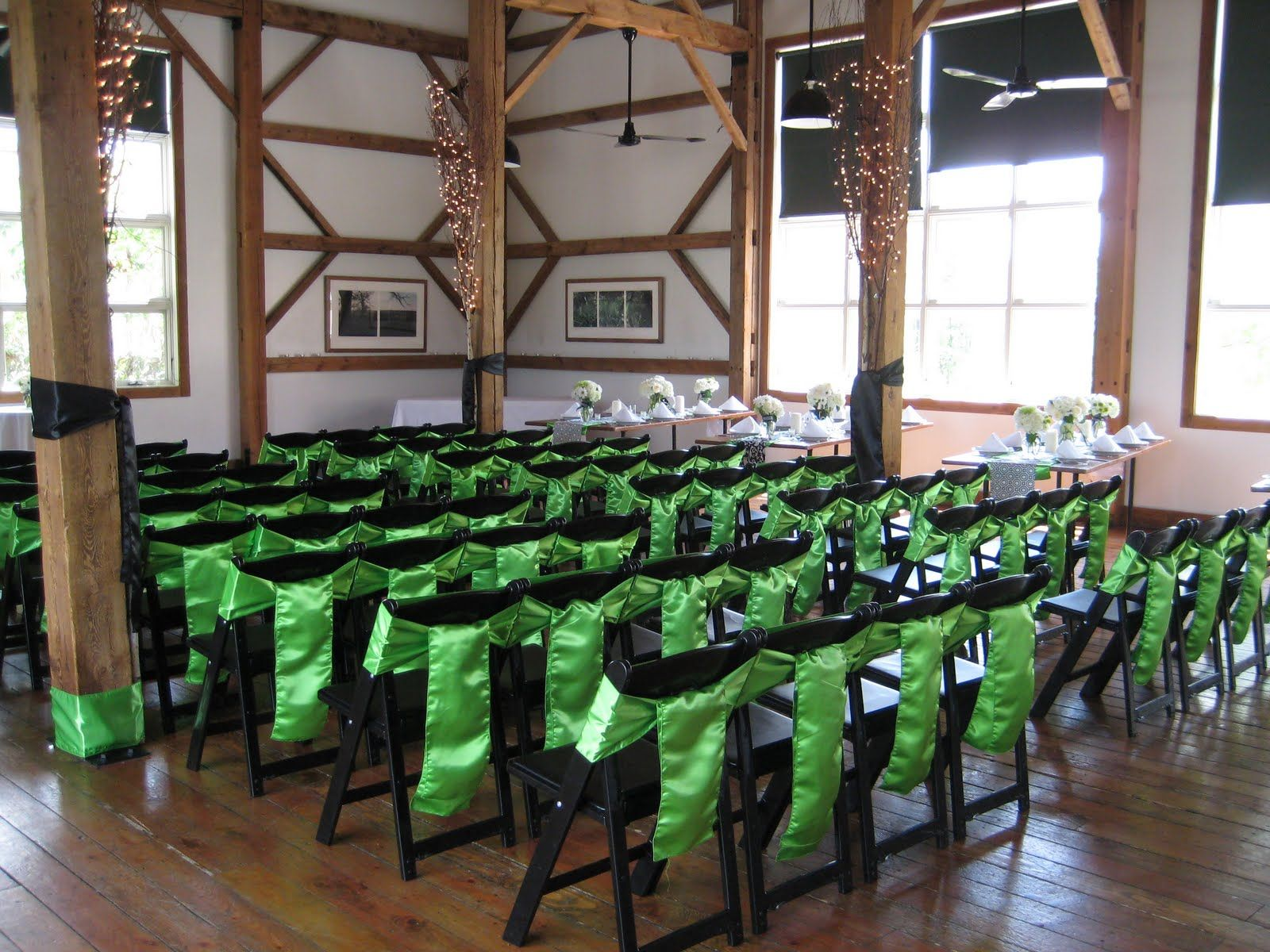 Cute idea for decorating metal folding chairs wedding for Decorating chairs for wedding reception