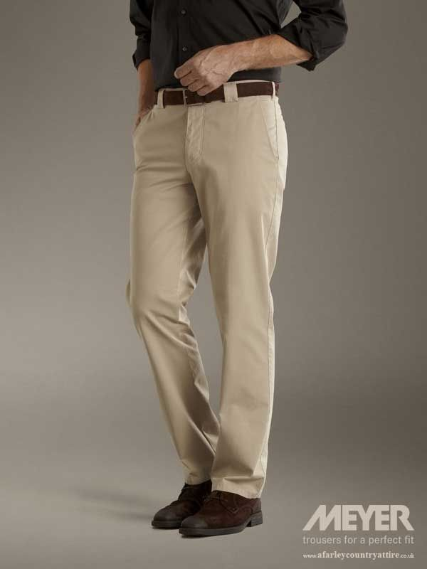317aa6917179ad Meyer Trousers - Roma 350 Fine Gabardine Lightweight Cotton - Beige -  Available to buy online