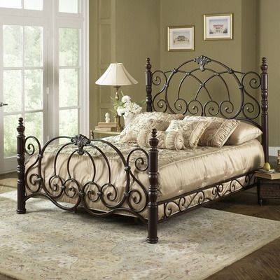 Strathmore Bed In Ornate Vintage Spice Size Queen Wrought Iron