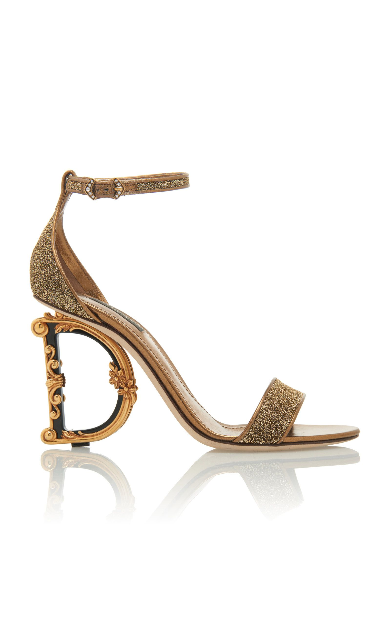7fe1d303090b Dolce   Gabbana Logo Heel Lurex Sandals