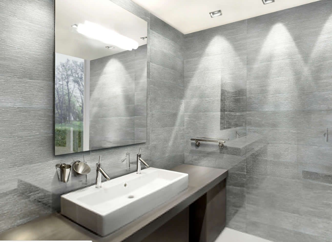 White And Silver Bathroom Ideas Part - 34: Bathroom Interior Design With Porcelain Surfaces Of Archconcept Bano Silver  By Apavisa Spain