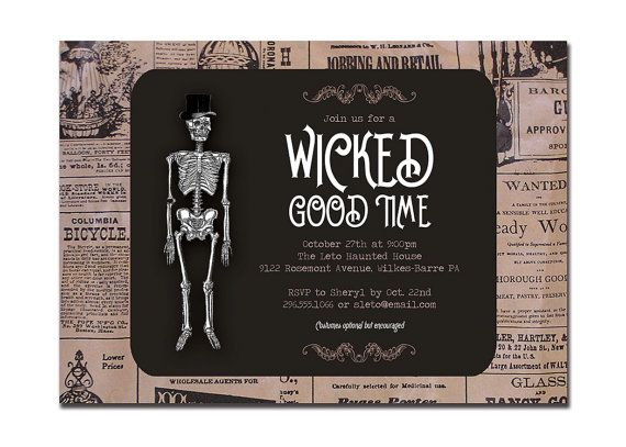 leto} vintage halloween invitation adult party by, Party invitations