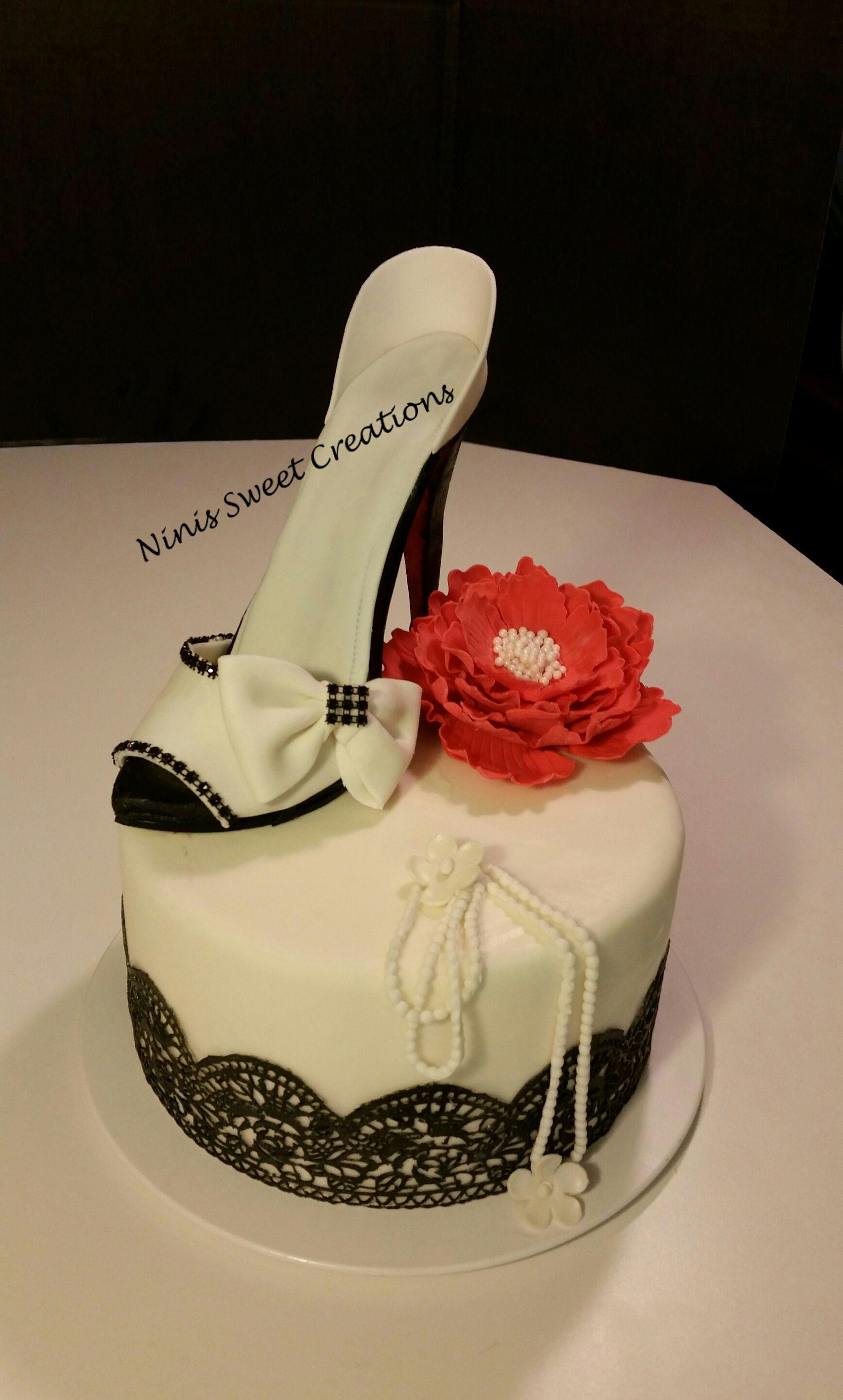 Gumpaste Shoe Fondant Shoe Cake Black And White Edible