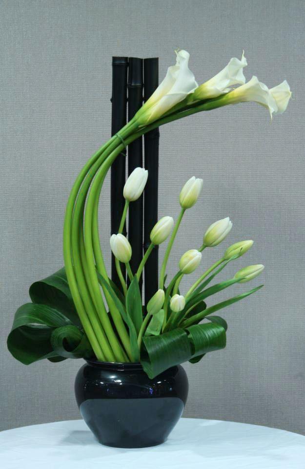 Elegant Floral Centerpieces Arrangements   Elegant green floral design by Crossroads Florist , Mahwah NJ