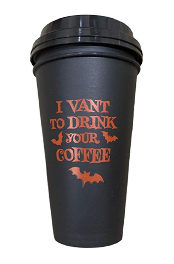 """2pc Halloween Coffee to Go Cups, """"I Vant To"""