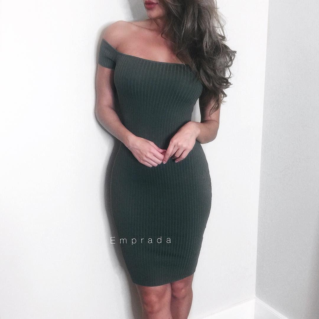 Nina Olive Off Shoulder Ribbed Dress // Available at Emprada.com
