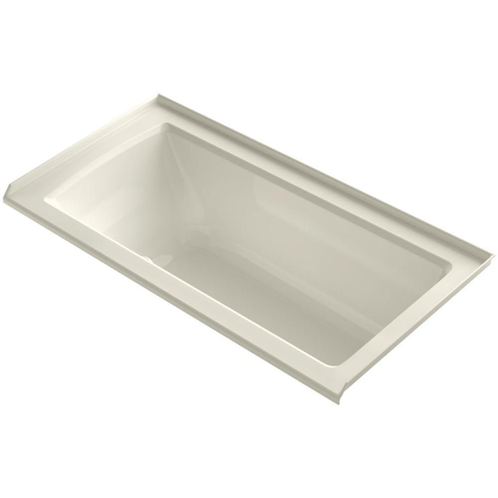 KOHLER Archer 5 ft. Walk-In Whirlpool and Air Bath Tub in Biscuit ...