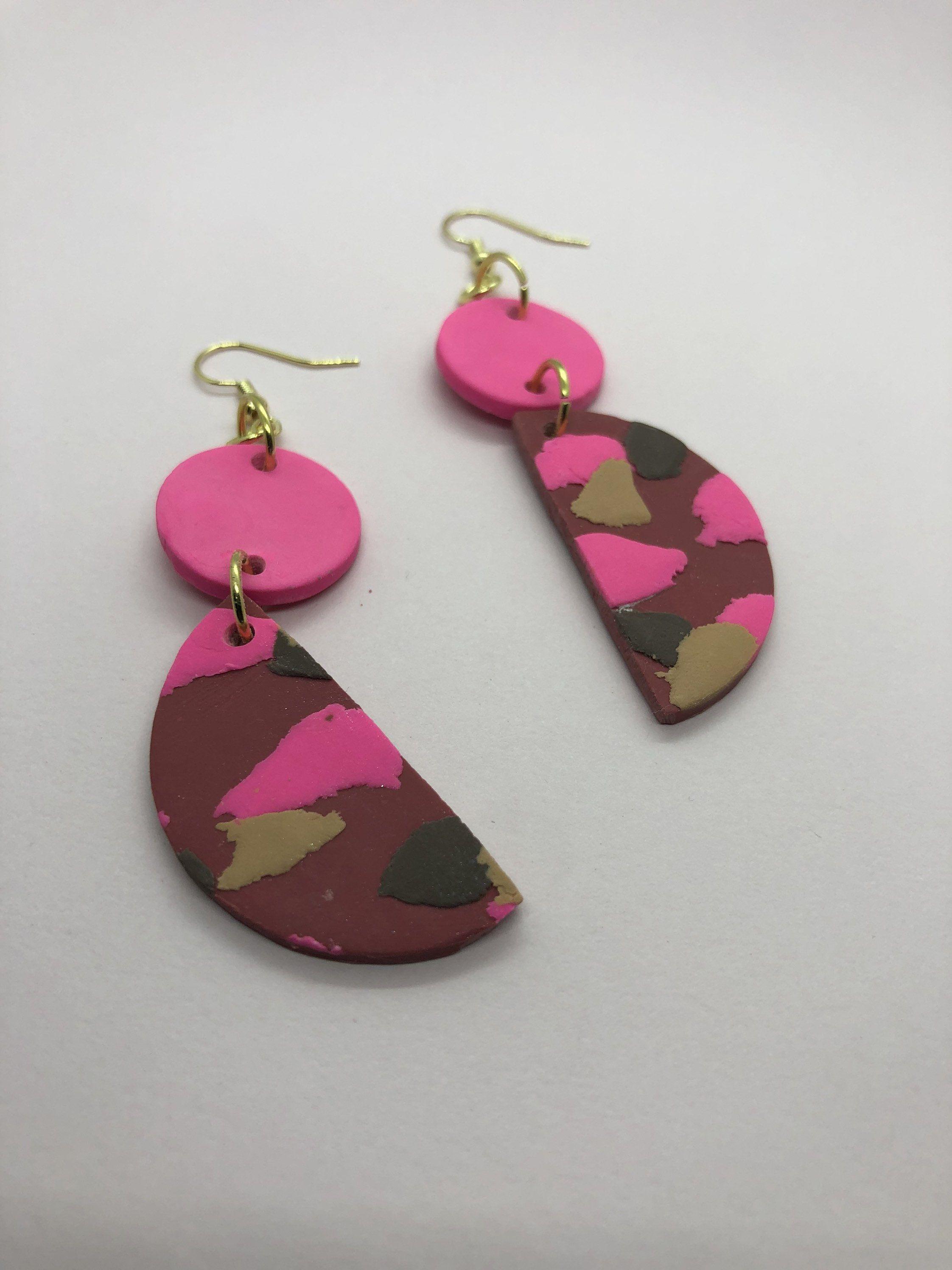 Tan /& Pink Polymer Clay Earrings