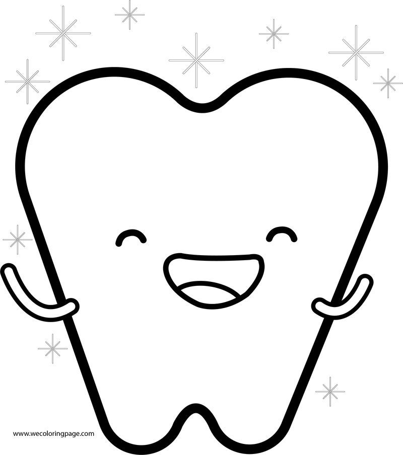 Happy Teeth Cartoon Coloring Page