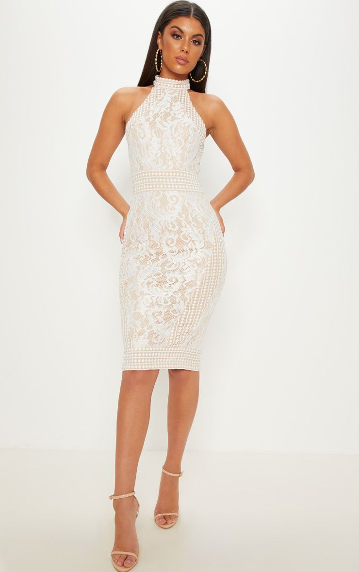 5475a88a06 White Lace Crochet High Neck Midi Dress in 2019 | bridal shower ...