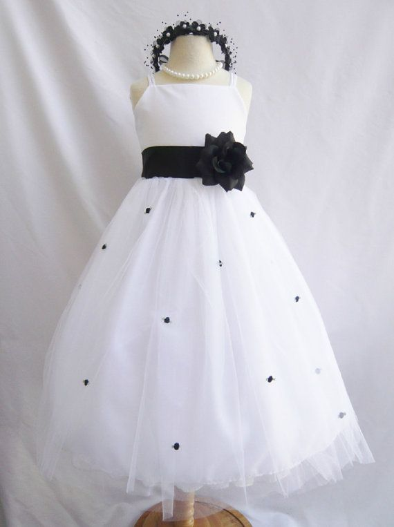 8c391508c3e Flower Girl Dresses WHITE with Black FD0RB3 by NollaCollection ...