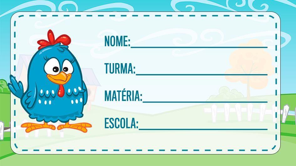 Etiqueta Escolar Galinha Pintadinha Para Imprimir Etiquetas