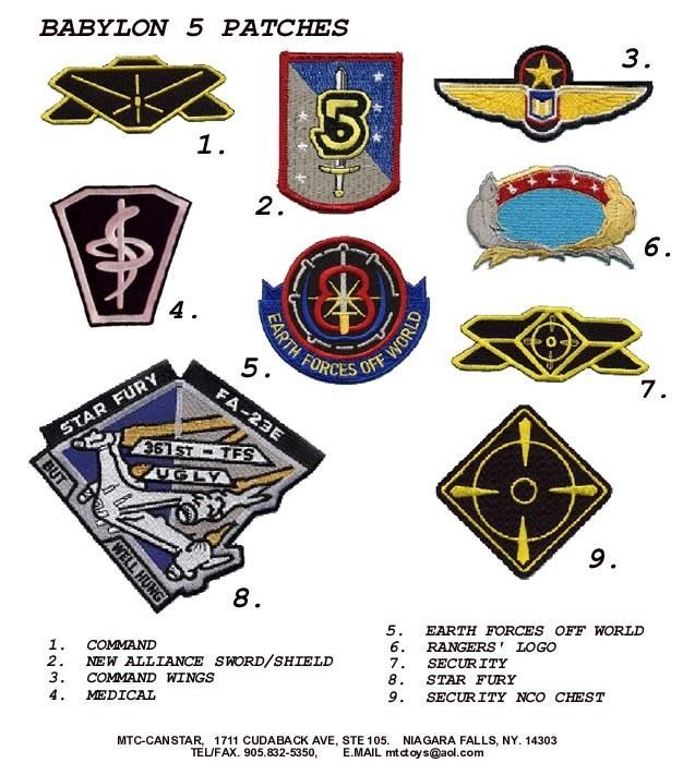 A closer look at some of the Earth Alliance and Earthforce patches seen on  various uniforms. 689076339
