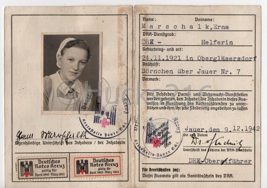 Ausweis Erna Marschalk | WW II identification Papers | Pinterest