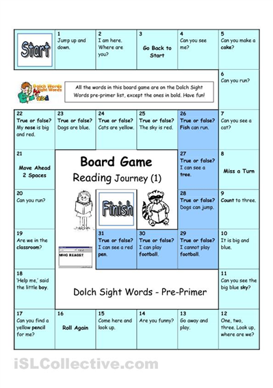 Board Game - Reading Journey (1) - Dolch Sight Words Pre-primer ...