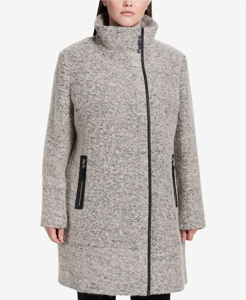 9b87dbc841e6e The Must Have Plus Size Winter Coats You Want To Rock Now! Calvin Klein  Plus Size Faux-Leather-Trim Asymmetrical Walker Coat
