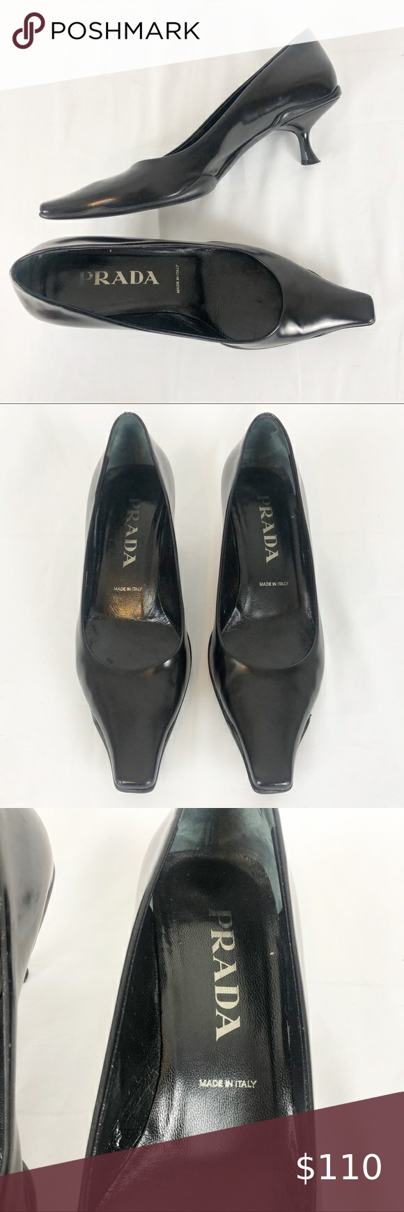 Vintage 1990 S Prada Black Kitten Heels 37 In 2020 Black Kitten Heels Heels Shoes Women Heels