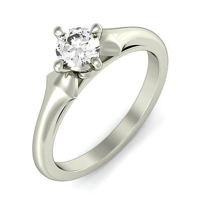 CT 14k BLISS WHITE GOLD SOLITAIRE ENGAGEMENT RING.