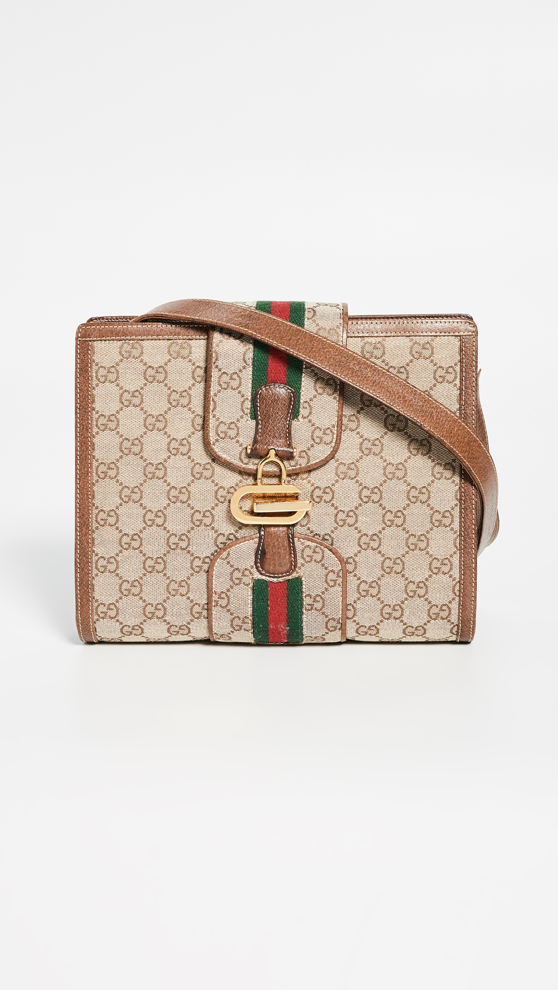 f59cada0 What Goes Around Comes Around Gucci Brown Canvas Shoulder Bag ...