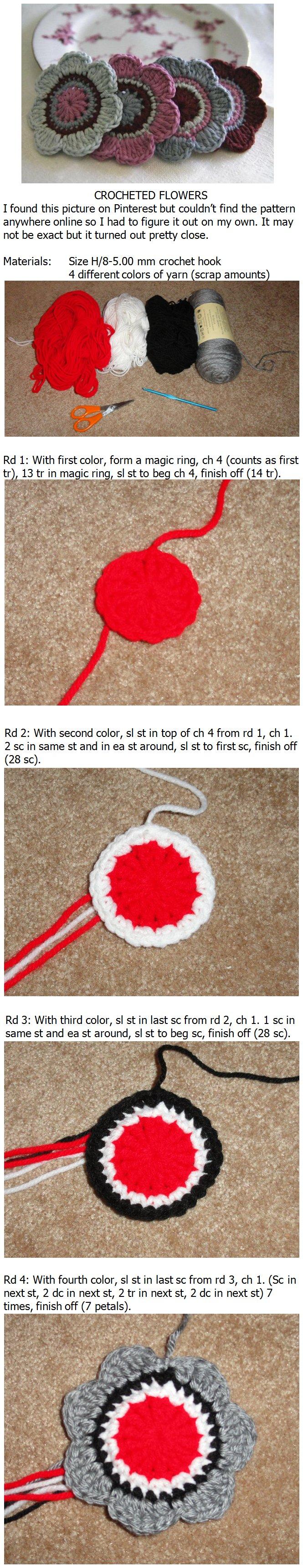 Crocheted flower pattern