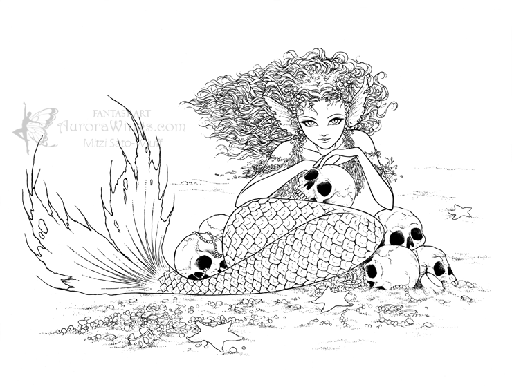 Fantasy Art Of Mitzi December 2011 Mermaid Coloring Book Fairy Coloring Pages Fairy Coloring