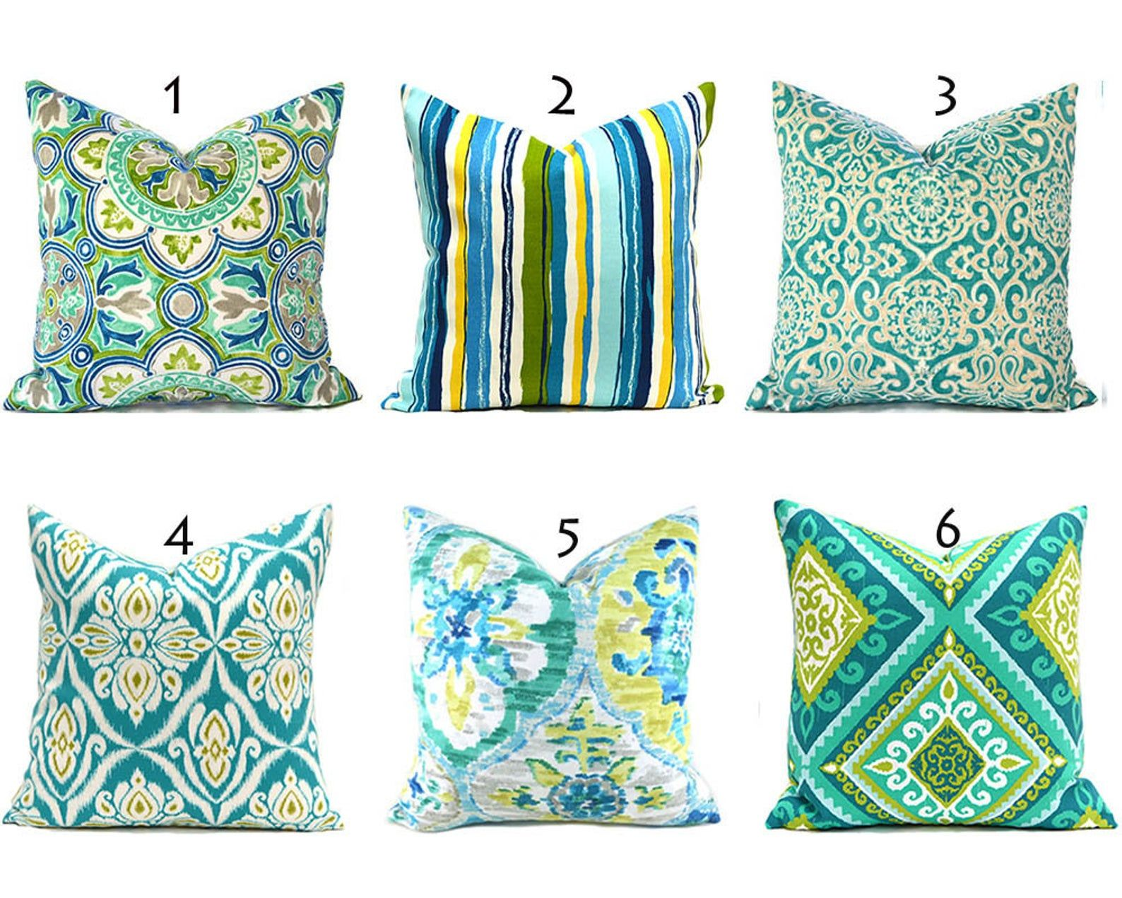 Outdoor Pillow Covers Any Size Decorative Home Decor Turquoise Blue Green Designer Throw Pillow Covers You Choose Outdoor Outdoor Pillow Covers Designer Throw Pillows Pillow Covers