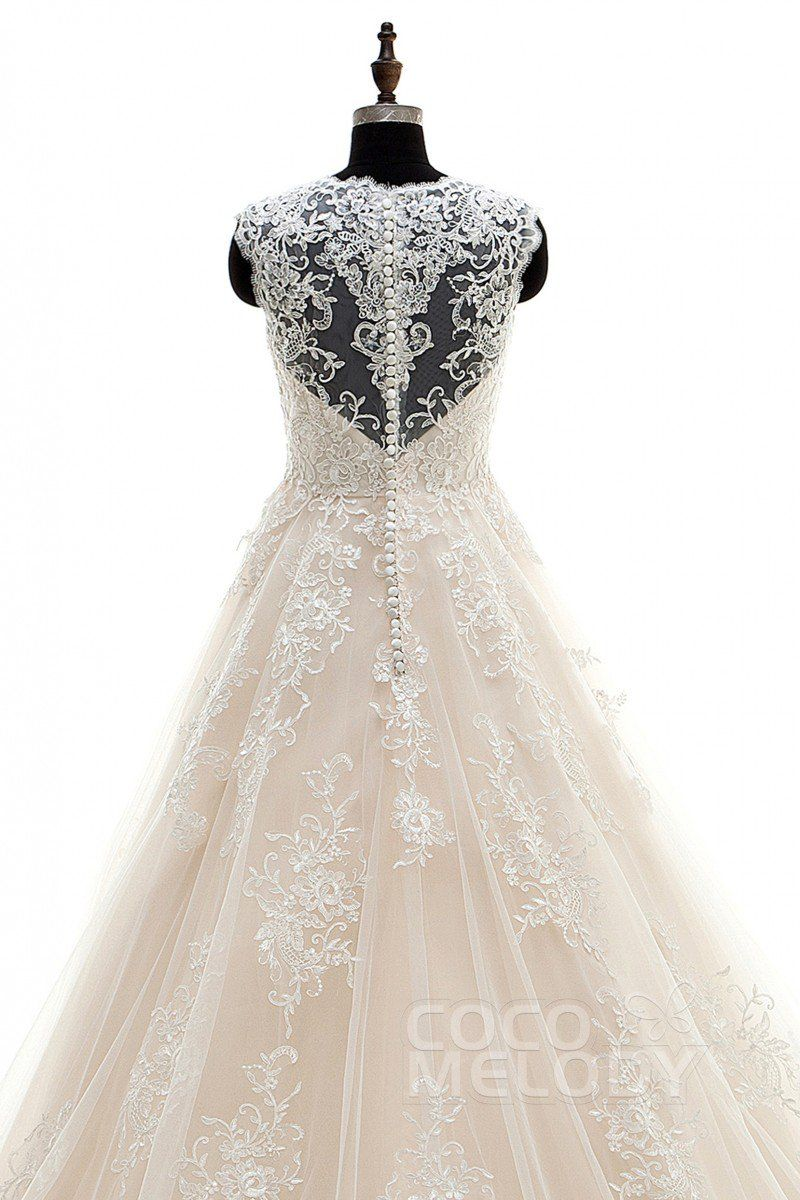 b8e830ed47 A-Line Court Train Tulle and Lace Wedding Dress Appliques LWXT16001 ...